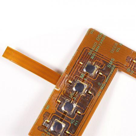 FPC com Metal Dome - FPC de dupla face. Montado com componentes.