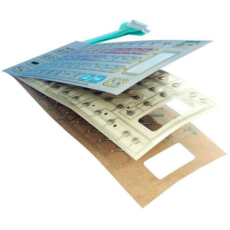Interruptor de membrana - Janelas vermelhas e material de resistência aos raios ultravioleta.