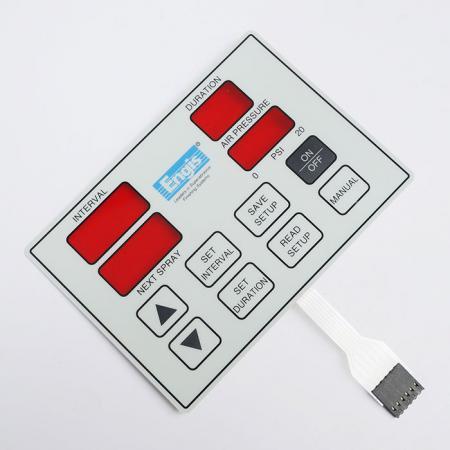 工業設備防水型薄膜按鍵 - 紅色窗口薄膜按鍵。