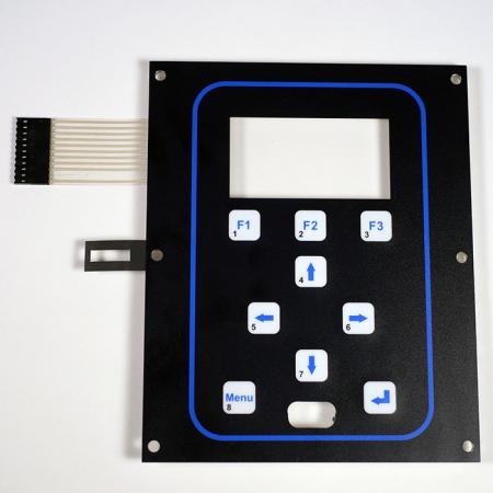 Chave de membrana antiestática - Interruptor de membrana antiestática montado com moldura de alumínio, impressão com tinta prata e adesivo 3M468 na parte traseira podem ser fixados nos dispositivos.