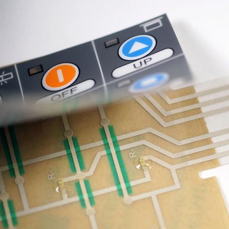 Botão de relevo plano Interruptor de membrana - Revestimento de superfície de material PET