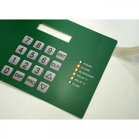Flat embossing keypad with three colors LED