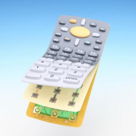 PCB montado com teclado de borracha de silicone