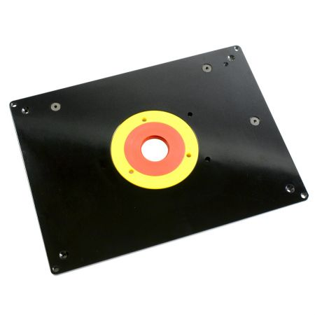 12-inch x 9-inch Router Table Insert Plate with Guide Pin and Snap Rings - Router Table Insert Plate