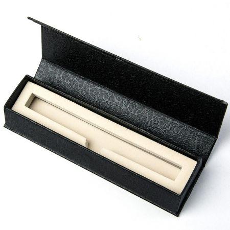 Estojo de caneta única dobrável de papel preto - estojo de caneta