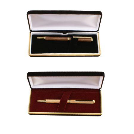 Single Pen Case - Black Leatherette Gold Trim - pen case