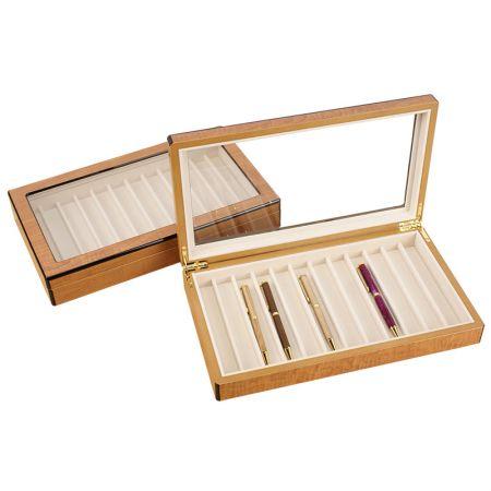 Expositor de caneta de madeira de 12 peças com janela de vidro - monitor com caneta