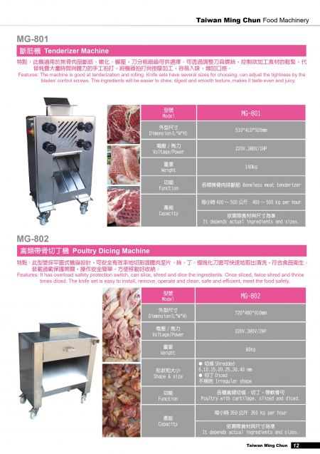 Tenderizer Machine/Poultry Dicing Machine.