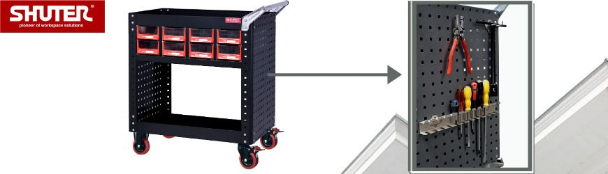 Tool cart has siding pegboard