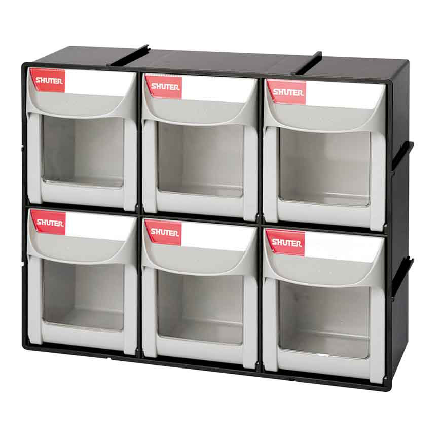 Flip out bins with transparent windows and label areas for easy storage organization.