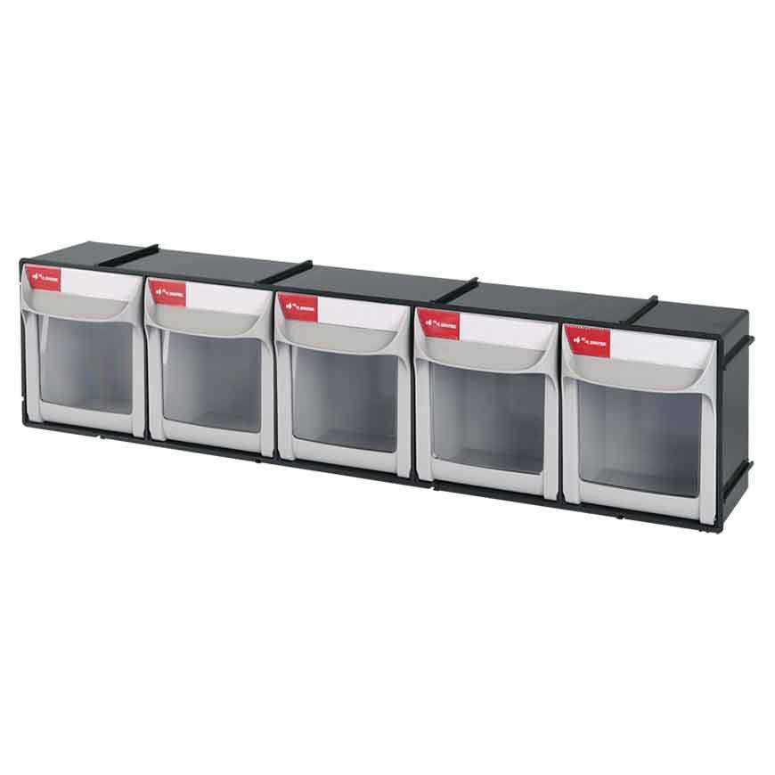 Heavy duty, food grade-tested, industrial drop-door storage bins from SHUTER.