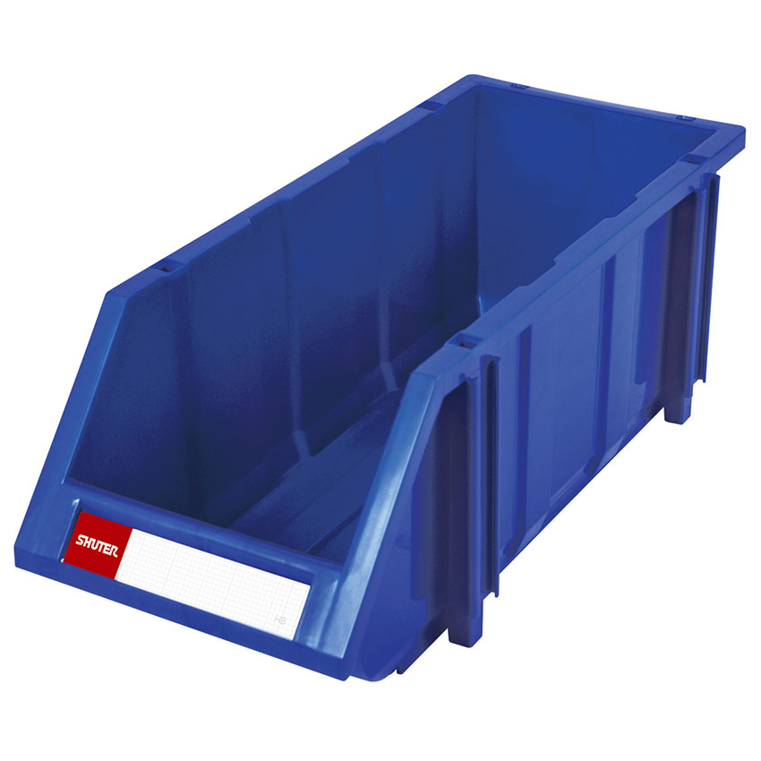 Hopper-style PP plastic hanging storage bins for use in industrial settings.
