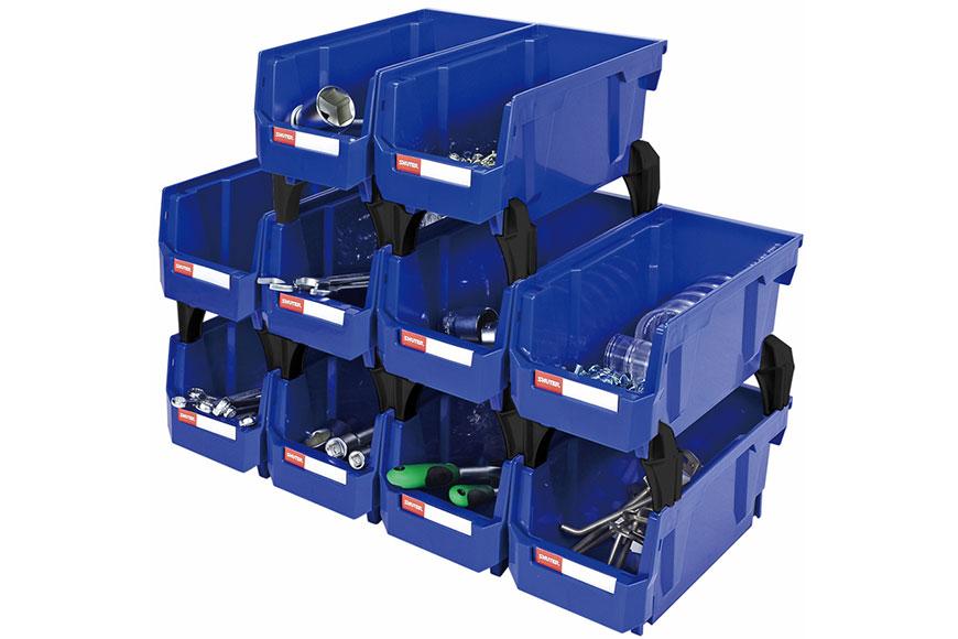 Hanging bin, Nesting bin, Pegboard bin, Stackable storage bin