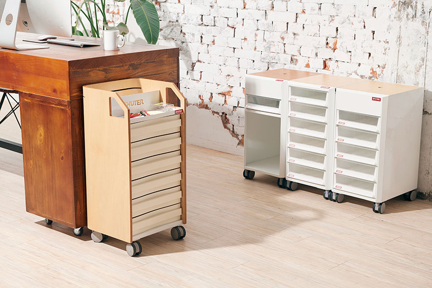 SHUTER's mobile desk-side file trolleys suit today's flexible office spaces.