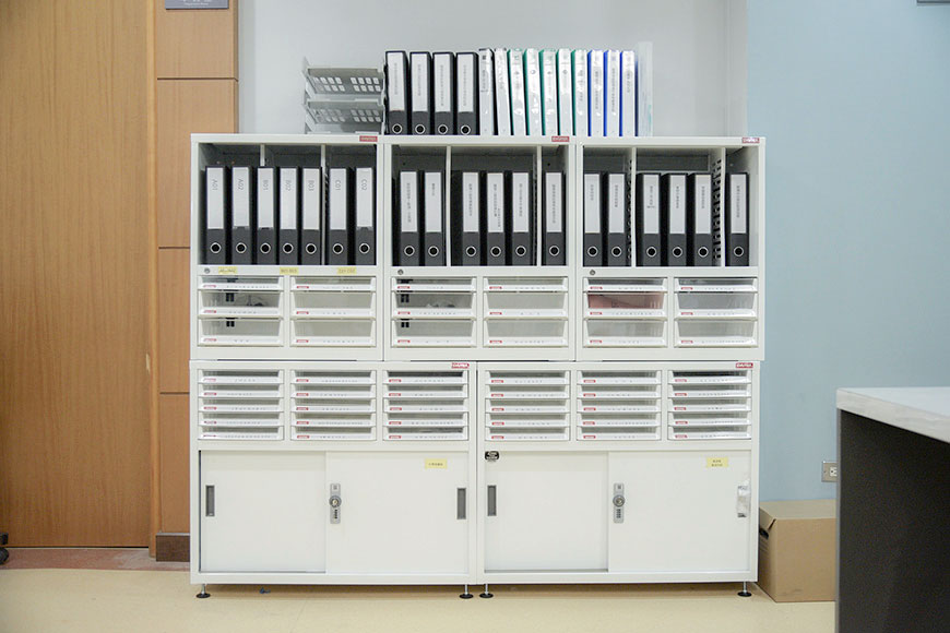 Desktop or wall-mountable document storage systems for home and office use.