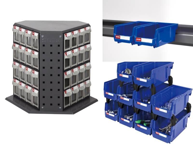 Tilt bin, Hanging bin, Pegboard bin, Stackable storage bin