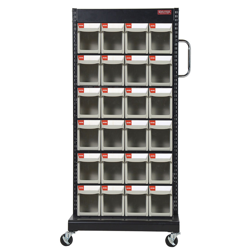 Mobile flip out bin racks that make small parts storage simple.
