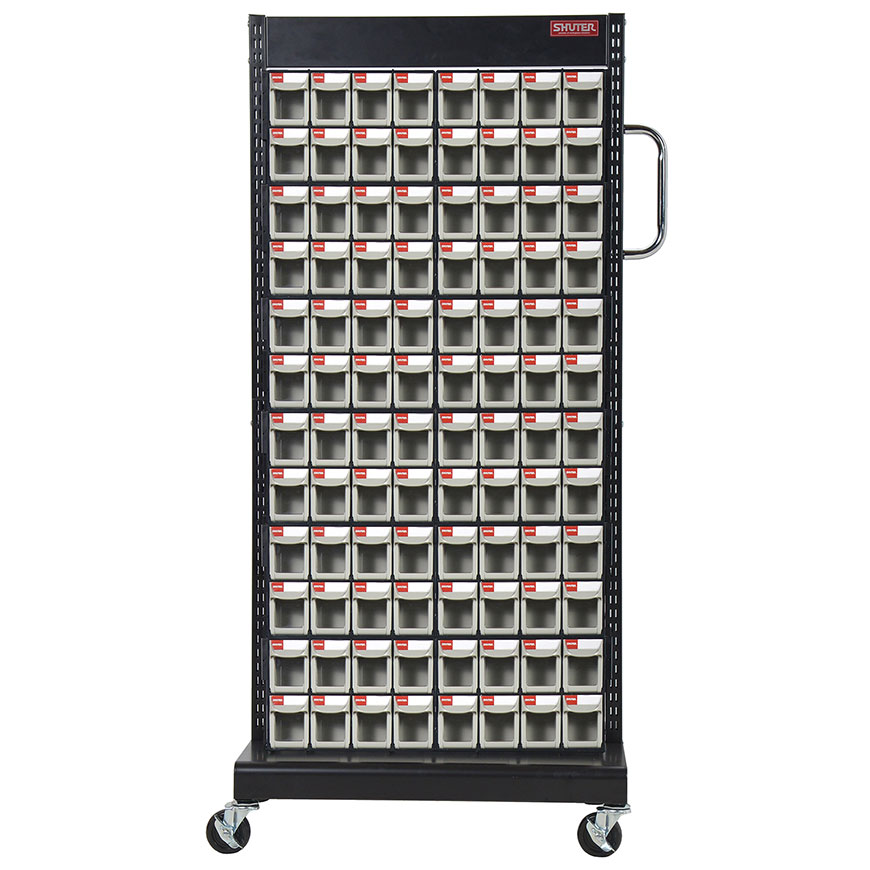 Flip out bins mounted on a mobile stand to create the very best solution on the market for small parts storage.
