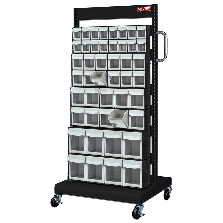 A rack-and-wheel system that sorts SHUTER mobile flip out bins for the most efficient storage systems available.