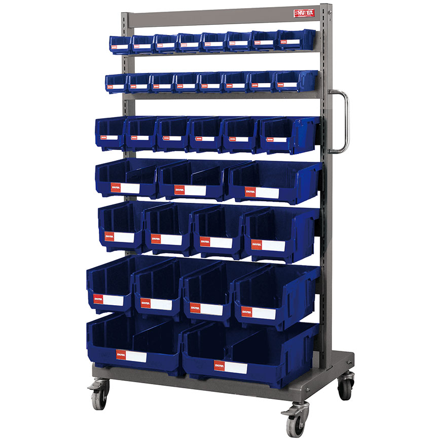 Matching bins grace this super strong steel mobile stand for industrial small parts storage.