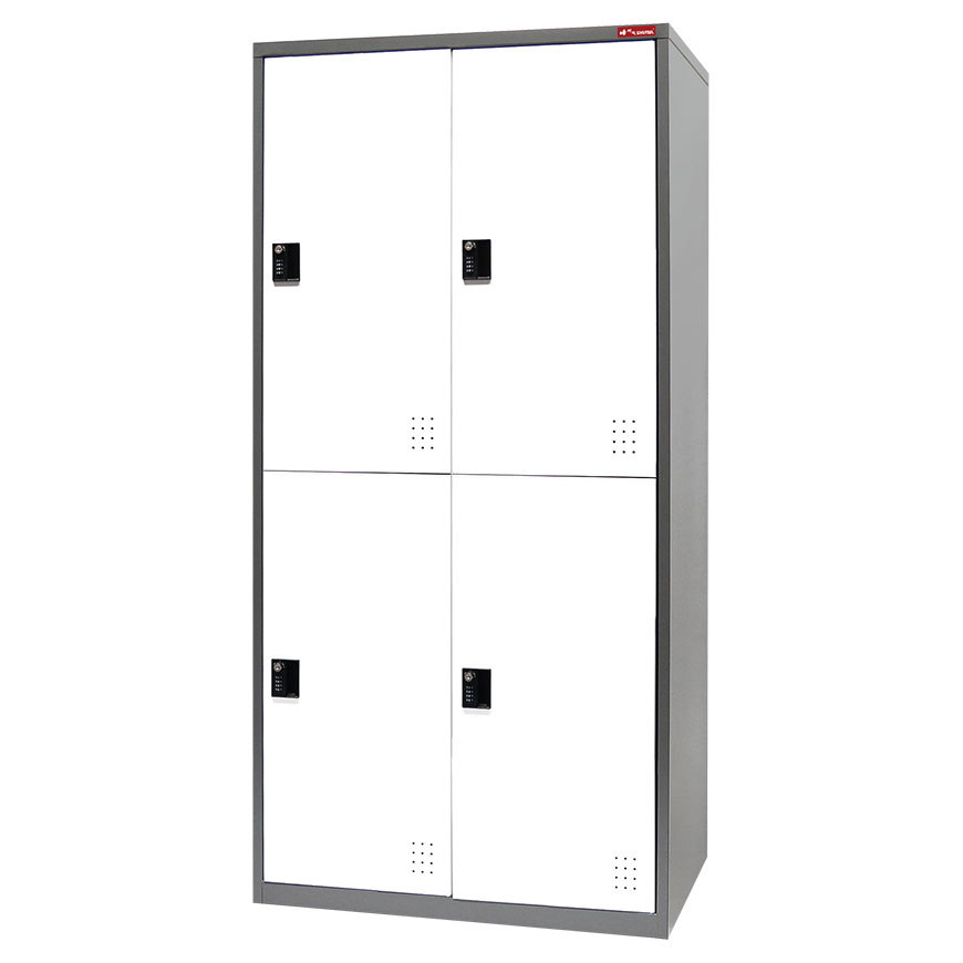 Lockable compartment storage with digital lock and administrator keys.