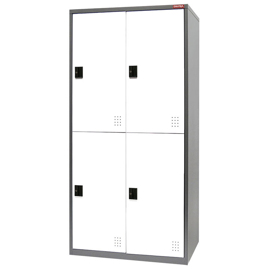 Steel locker unit with four lockable doors to use for storing personal possessions.