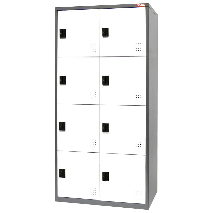 Steel cabinets for use as a wardrobe or large item storage in home, office, or industrial settings.
