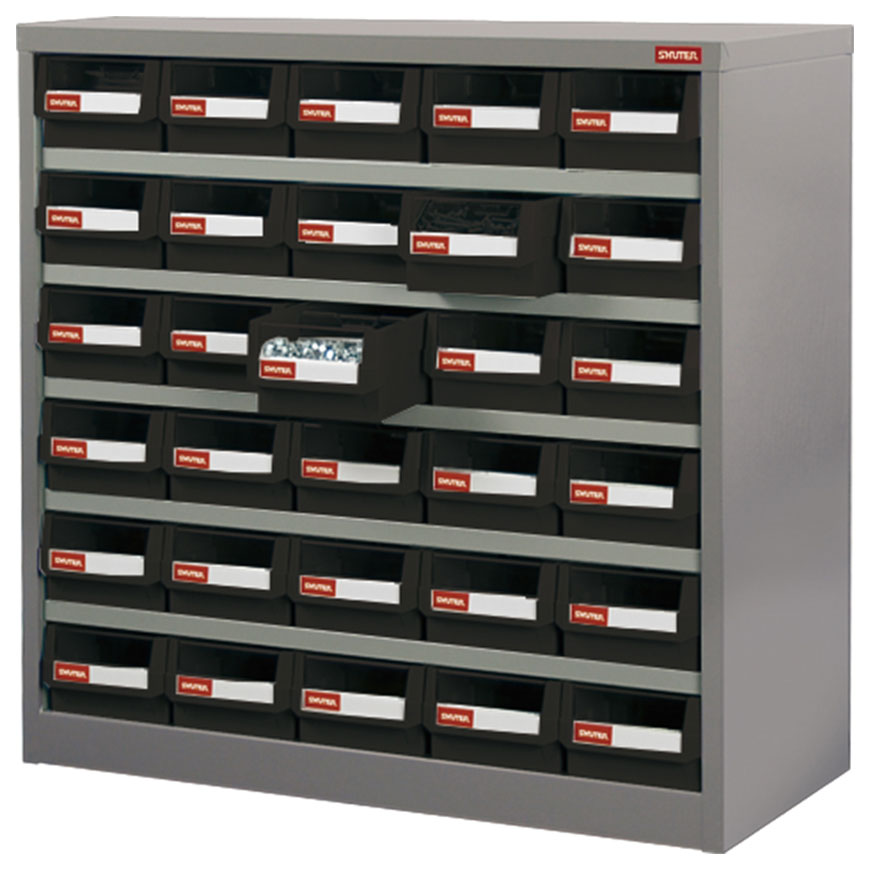 No-drop drawers are a key feature of this SHUTER industrial parts cabinet crafted from steel.