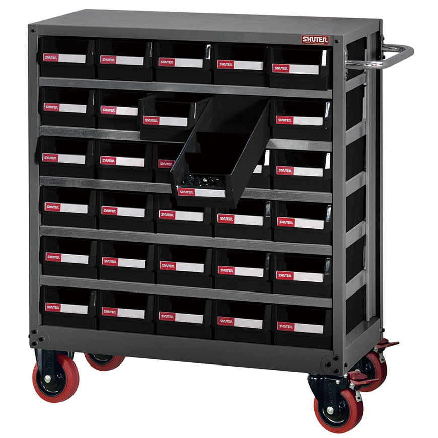 Drawer-style storage cabinet on caster and with handle for use in industrial settings.