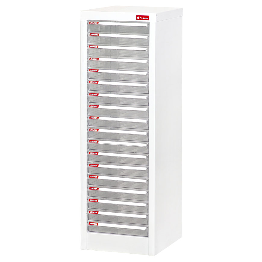 Steel cabinet with multiple transparent drawers for the most efficient desktop storage on the market.