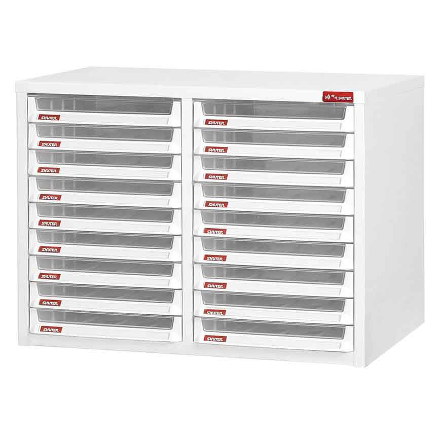 A traditional, proven place-of-business document sorting tower with numerous break-resistant plastic drawers.