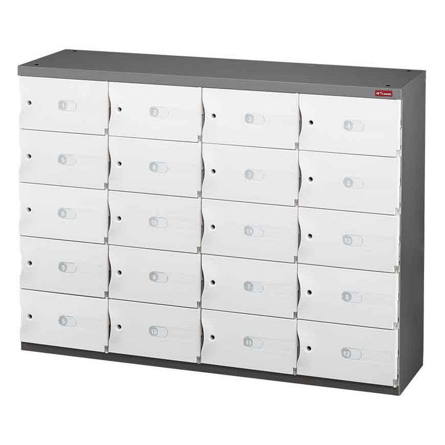 A steel storage credenza with functional and secure lockers.