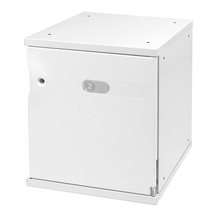 Stylish steel space cabinet with ABS doors for use in home, office or industrial settings.