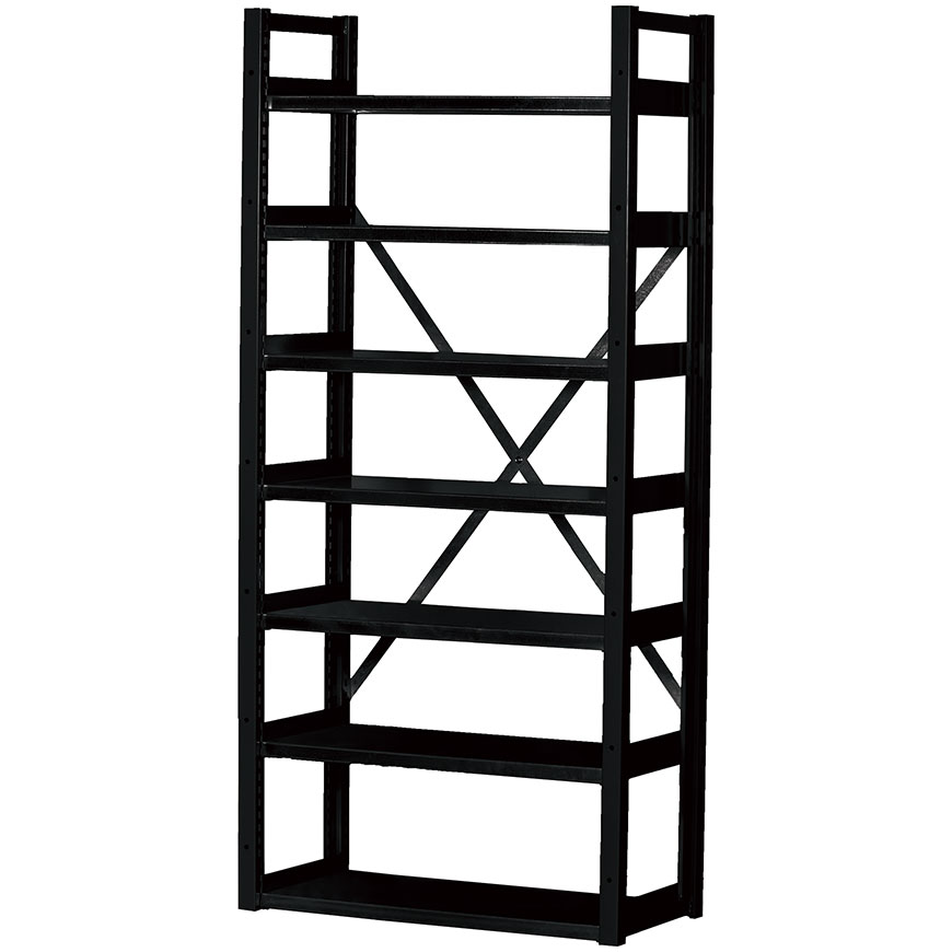 SHUTER industrial shelving features a cross-back design for extra stability.