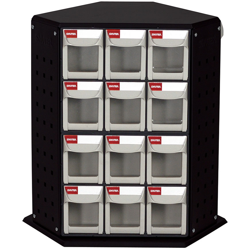 Rotating flip out bin stands are perfect for organizing small parts in industrial spaces.