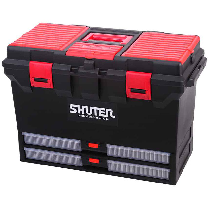 Industrial strength tool box that provides a convenient carryable tool storage solution.