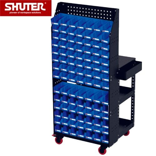 A special SHUTER double-sided cart with bins and backboard for ultra usability.