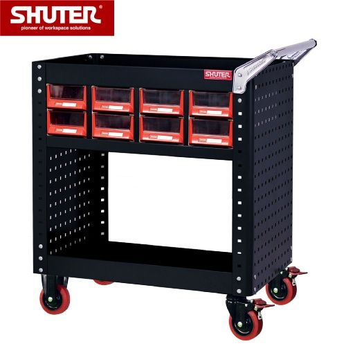 This easy-to-move hand-cart features sixteen drawers and a double-sided design.