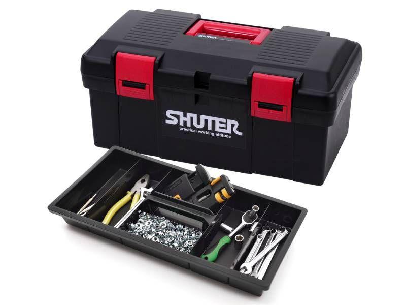견고한 스냅 잠금 장치, 외부 보관 서랍 및 분할 가능한 내부가 있는 도구 상자.