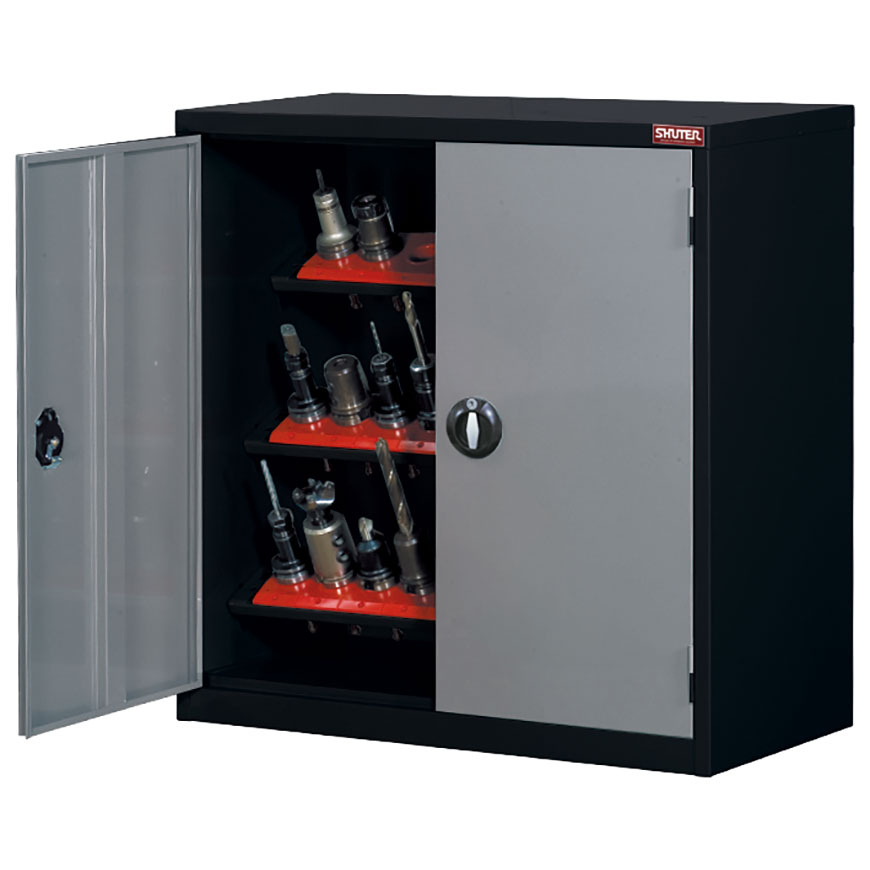 Tool storage cabinet with lockable doors for securely stowing away CNC bits in industrial settings.