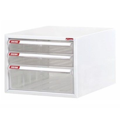 Steel File Cabinet with 3 plastic drawers in 1 column for A4 paper - Superior style office cabinets filing and desktop storage.