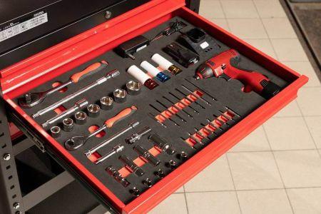 Storage of tool cart drawer