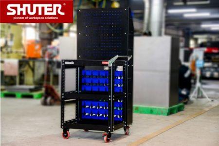 Tool cart plus back pegboard rack in factory