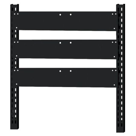Steel rack with 3 backboards for hanging tip out bins - Steel rack with 3 backboards for hanging tip out bins