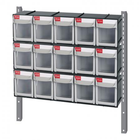 Mounting bar with flip-out bins for SHUTER tool carts.