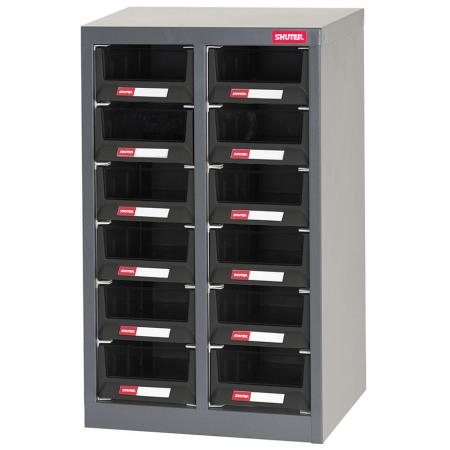 ESD Antistatic Metal Storage Tool Cabinet for Electronic Devices - 12 Deep Drawers in 2 Columns - SHUTER's range of ESD small parts cabinets are ideal for all your antistatic storage needs.