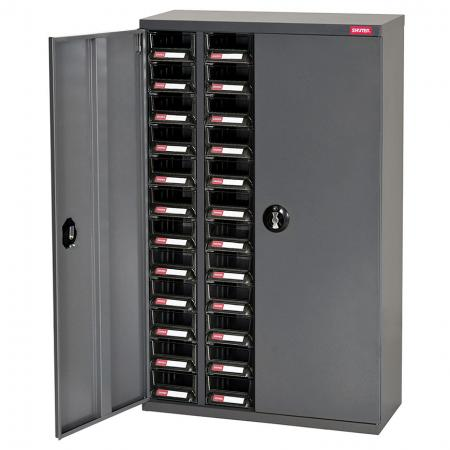 ESD Antistatic Metal Storage Tool Cabinet for Electronic Devices - Doors, 48 Drawers in 4 Columns - This antistatic ESD storage cabinet features lockable doors for extra security.