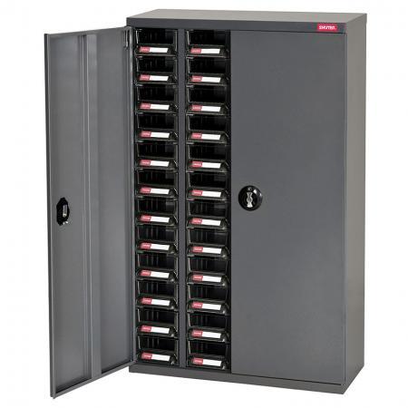전자 기기용 ESD 정전기 방지 금속 보관 도구 캐비닛 - 도어, 4열 서랍 48개 - 이 정전기 방지 ESD 보관 캐비닛에는 추가 보안을 위해 잠글 수 있는 도어가 있습니다.