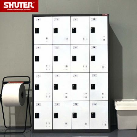 SHUTER metal locker with 16 compartments