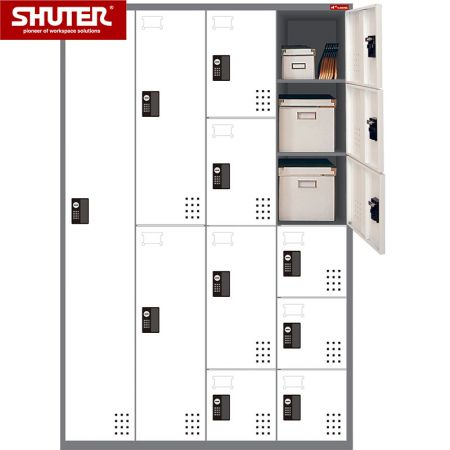 SHUTER metal storage locker with 16 compartments